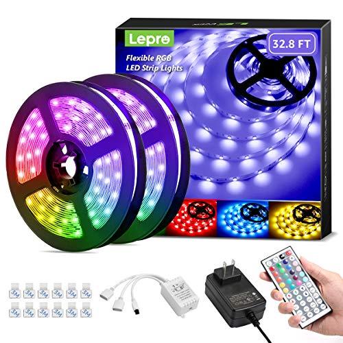 Lepro LED Strip Lights, 32.8ft RGB LED Lights Strip with 44 Keys IR Remote and 12V Power Supply, Flexible Color Changing 5050 300 LEDs Light Strips Kit for Bedroom, Home, Kitchen(2X16.4FT)