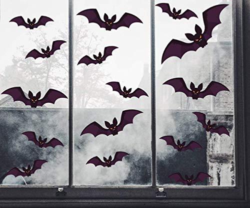 Halloween Pegatinas de Ventana Murciélagos Pegatinas Realista Halloween Decoración Pared Pegatinas Props (A)