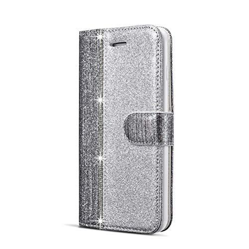 JAWSEU Compatible avec Samsung Galaxy S7 Coque Portefeuille PU Étui Cuir à Rabat Magnétique Diamant Strass Glitter Paillette Brillant Couleur de Épissure Stand Leather PU Flip Wallet Case,argent