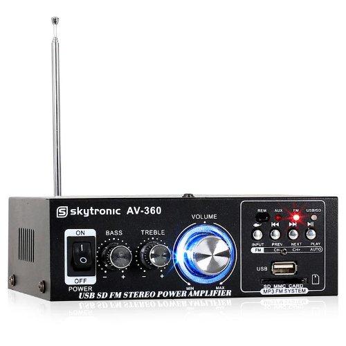 Skytronic AV-360 Amplificatore audio finale di potenza Hi-Fi (2 x 40 Watt, ingressi USB SD MP3, Radio FM, AUX)