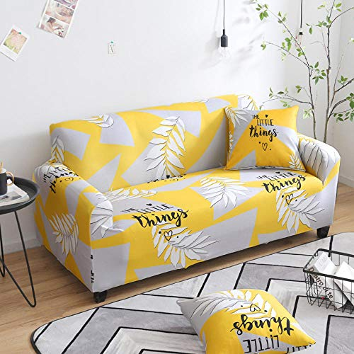 NLADTWLSD Sofa Covers 1/2/3/4 Seater printing Couch Settee Slipcover Easy Fit Elastic Fabric Stretch Couch Slipcover Sofa Protector yellow,1 Seater (35.4-55.1 inch)