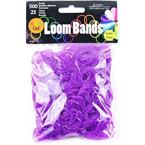 Touch of Nature Neon Gel Loom Bands, 500 Bandes et 25 fermoirs Plastique, Violet