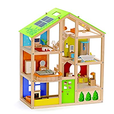 All Seasons Kids Wooden Dollhouse by Hape   Award Winning 3 Story Dolls House Toy with Furniture, Accessories, Movable Stairs and Reversible Season Theme
