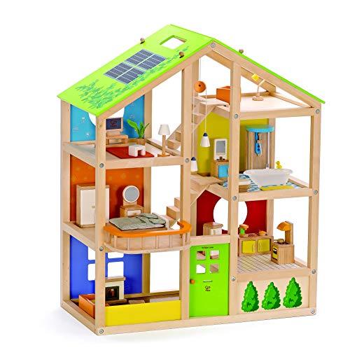 Hape E3401 - Vier-Jahreszeiten Haus (möbliert), Puppenhaus mit Zubehör, aus Holz