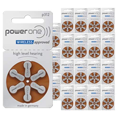 Powerone Hearing Aid Batteries, Size 312, 120 Batteries + Free Zipper Case