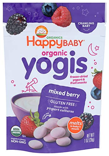 Happy Baby Organics Yogis Freeze-Dried Yogurt & Fruit Snacks, Mixed Berry, 1 Ounce (Pack of 1)