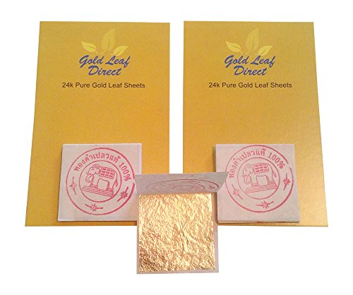 24 Karat reines essbares Blattgold, 100 % echt, 15 Blätter