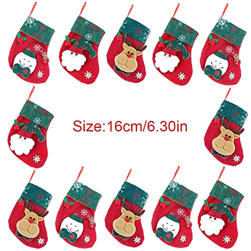 weixinbuy Christmas Socks Christmas Linen Cartoon Socks Pendant Decoration Christmas Tree Hanging Socks Linen Holiday