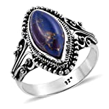 Shop LC Delivering Joy 925 Sterling Silver Marquise Purple Turquoise Statement Ring Oxidized Southwest Style Jewelry Size 7