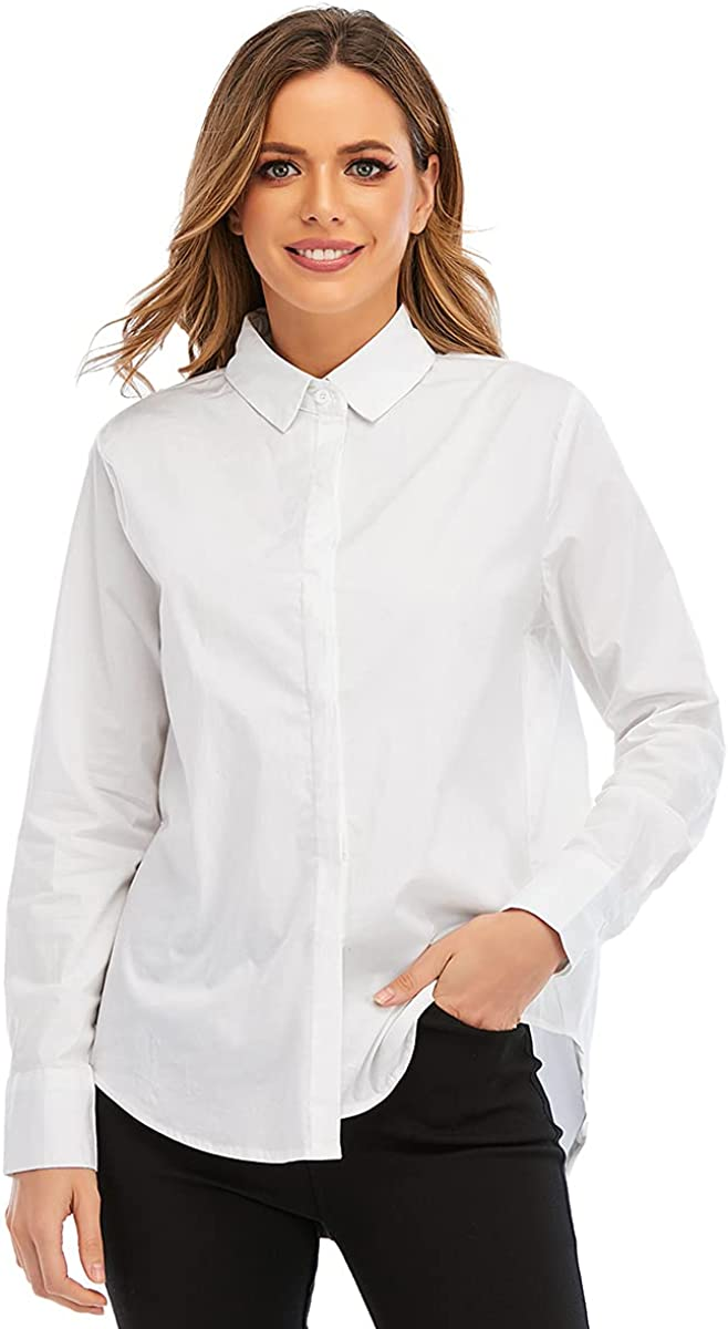 Womens Button Down Shirt Long Sleeve Button Up Shirts Blouses for Women Casual Oversized Tunic Shirts for Work Outdoor