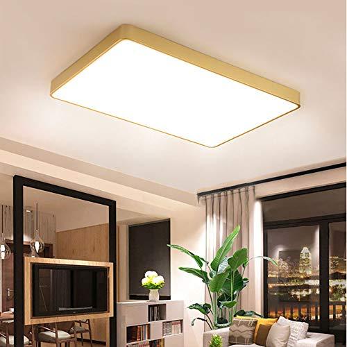 Cobre LED Lámpara De Techo,Lámparas De Techo Para Dormitorios Salón Oficina,Retro Plafon Led Techo Pantalla De Pmma Luz Colgante-Luz cálida 60x40cm(23.6x15.7')