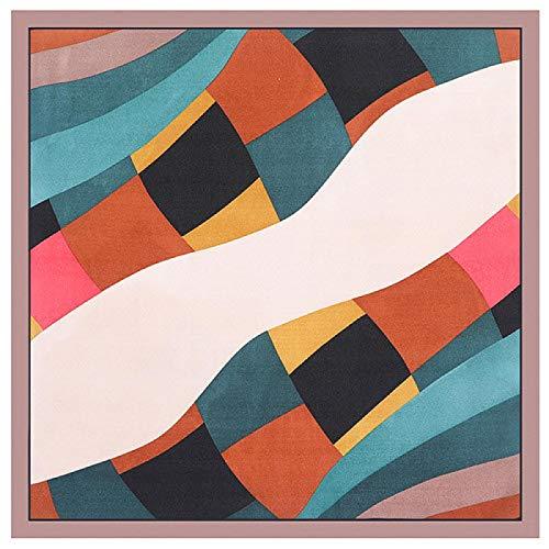 jiao Sciarpa di Seta al 100% Donna Geometrica Stampa Tinta Unita Sciarpe quadrate Bandane di Lusso Piccolo Hijab Foulard Cravatta da Donna Fascia 53x53 CM caffè