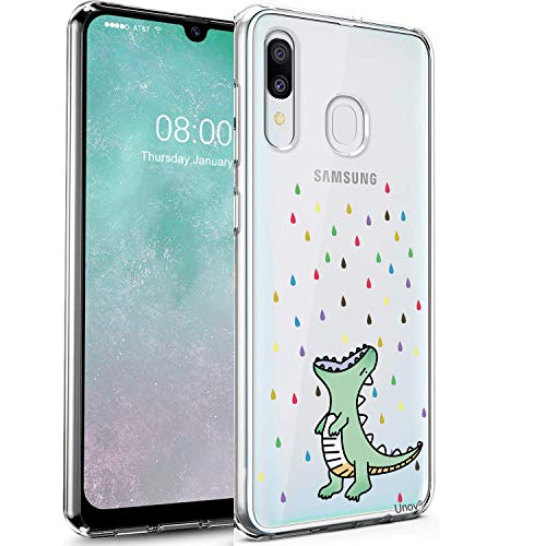 Unov Galaxy A20 Case Clear with Design Soft TPU Shock Absorption Slim Embossed Pattern Protective Back Cover for Samsung Galaxy A20 A30 6.4 inch (Rainbow Dinosaur)