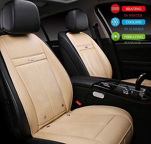 ANJIN Autositzkissen mit Beheizbare kühlendes Massage Funktionen, DC 12V/24V Auto Sitzheizung Auflage für Auto LKW Haus und Büro(1 Stück, Beige),24v