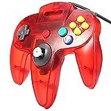 Controller Für Nintendo 64 N64 Rot Transparent Kabelgebunden Gamepad Joypad