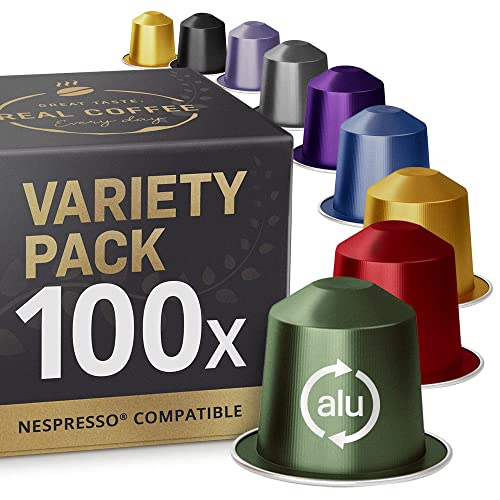 Gemischte Testbox mit 9 Sorten: 100 Nespresso kompatible Kapseln. Kaffeekapseln Testsieger.