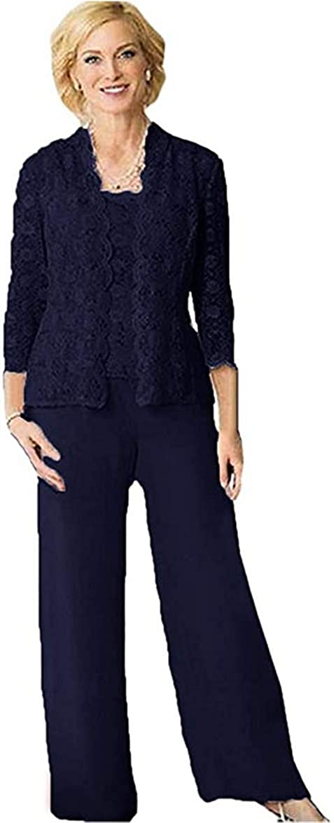 HYC Lace Chiffon Three Pieces Mother of The Bride Suit with Long Sleeve Jacket Plus Size Women Prom Party Pant Suit
