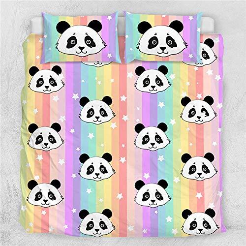 DTBDWOSY Ropa De Cama Juego De Funda Panda Animal De Dibujos Animados 180X220 Cm - Juego De Funda Nórdica Impresa En 3D Diseño De Colores Vibrantes Juego De Ropa De Cama De Microfibra