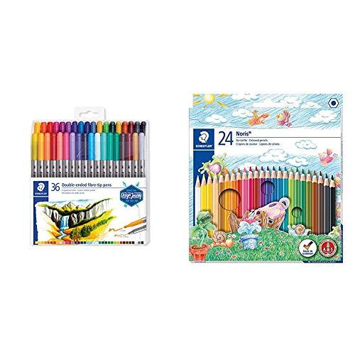 STAEDTLER Design Journey 3200 TB36, Rotuladores para lettering de doble punta, Caja con 36 marcadores de variados + Noris Club - Pack de 24 lápices de , Multicolor
