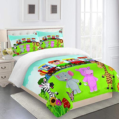 RYQRP Double Duvet Covers Set Cartoon Animals Elephant Lion Bedding Set with Zipper Closure Microfiber, Bedding Quilt Cover 200x200 with 2 Pillowcases for Children Kids Teens Adults