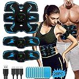 PiAEK Electroestimulador Muscular Abdominales ABS, EMS Abdomen Estimulación Tóner Muscular Cinturones de Masaje para Hombres Mujeres Bdomen/Brazo/Piernas/Glúteos,Almohadillas de Gel 20pcs Gratis