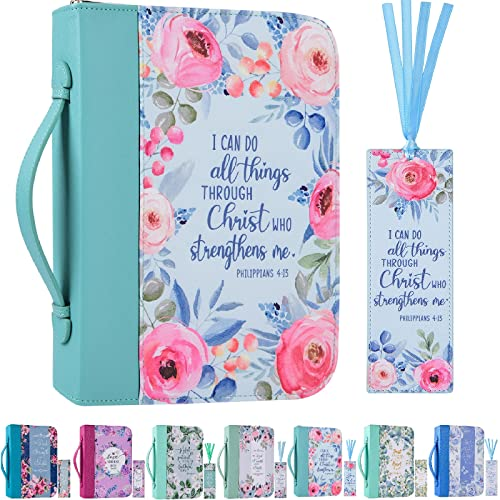 Bible Cover Case for Women with a Matched Bookmark Floral PU Leather Bible Cover Bag with Pockets and Zipper for Standard and Large Size Study Bible 10.8'x7.8'x2'
