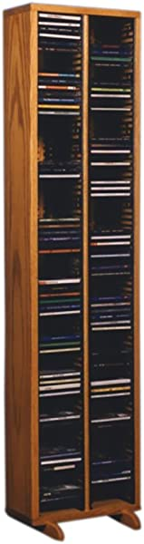 Cdracks Media Furniture Solid Oak Tower For CD Capacity 160 CD S Honey Finish 209 4 Individual Locking Slots
