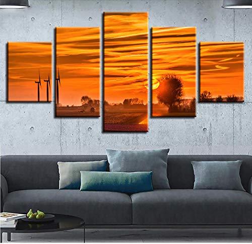 GTomorrow Leinwandbilder, Bilder Auf Leinwand, Impression Roten Sonnenaufgang 150X80Cm(B) 5-Teilig, Wandbilder Wohnzimmer Wohnung Deko Fertig Zum Aufhängen
