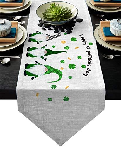 Camino de mesa navideño de 13 x 70 pulgadas, feliz día de San Valentín, corredores de tela de lino de algodón, decoración para bodas, cenas, cocina, hogar, lavable a máquina, lindo Gnome-Gnomechd1115