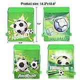 Qpout Fußball Taschen 12 STÜCKE Kordelzug Fußball Rucksack Kindergeburtstag Gastgeschenke Liefert Goodie Taschen für Kinder Mädchen Jungen Kleinkinder - 2