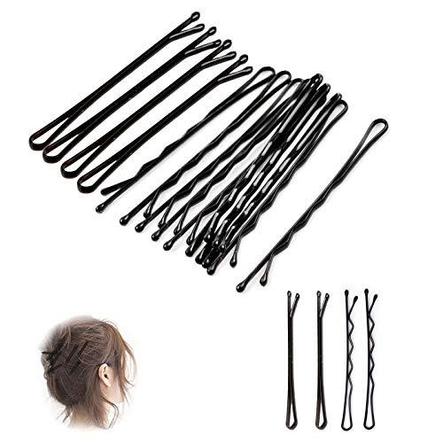 Ealicere 200 Pièces Noir Épingles à cheveux,2.17 inch 2 types épingles à cheveux en forme de vague et ligne droite en métal de-Idéales pour tous types de cheveux de épingles cheveux vague
