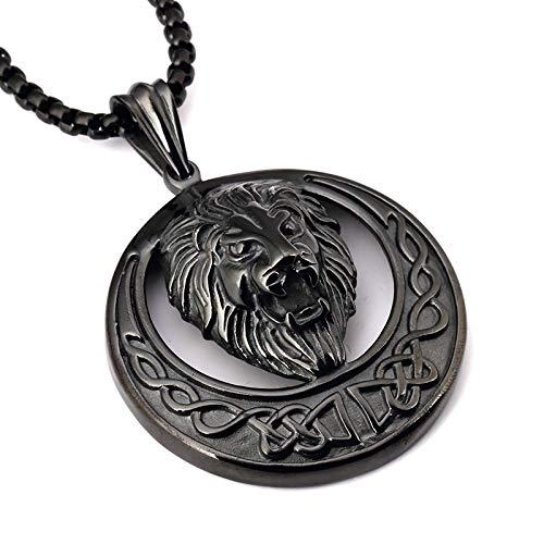 Unisex 60Cm Metal Hip Hop Necklace Lion Punk Pendant Chain Jewelry Black