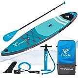 Paddle Gonflable Surf Stand Up Paddle Board Gonflable 335x84x15 cm + Pagaie réglable en Aluminium + Voyage Sac à Dos + Pompe Haute Pression + Leash + kit de Reparation + Sac étanche 20L (380cm, Vert)