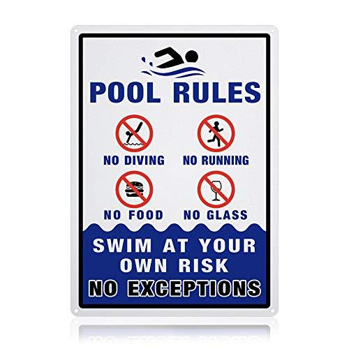 GLOBLELAND Pool Rules - Schwimmen auf eigenes Risiko Schild, 10x14 Zoll 40 Mil Aluminium Schilder für den Innen- oder Außenbereich, reflektierend UV Geschützt, wasserdicht und lichtbeständig