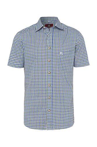 OS Trachten Moser Trachten Trachtenhemd Kurzarm grün blau karo 112338, Material Baumwolle, Größe 40