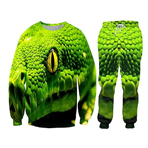 Impresión 3D Verde Viper Sudaderas Pantalones Conjunto Mens Sudadera con Capucha Pantalones 2 Piezas Traje Chándal Casual Ropa Deportiva, Swpa08235, S