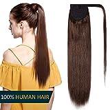 Queue de Cheval Cheveux Naturel - Extension Postiche 100% Vrai Cheveux Humain Rajout Lisse - Attaché par Bande Agrippantes Adhésives - #4 CHATAIN - 16'(40cm)