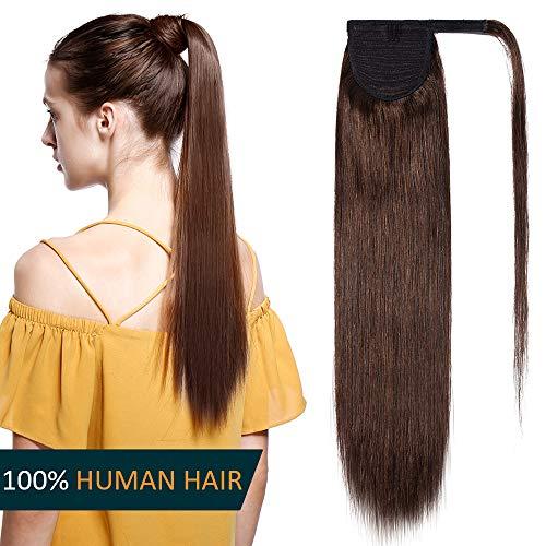 Coda Extension Capelli Veri Clip Code di Cavallo Fascia Unica Ponytail Extensions Marrone 35cm - 100% Remy Human Hair Lisci Umani 80g #4 Marrone Cioccolato