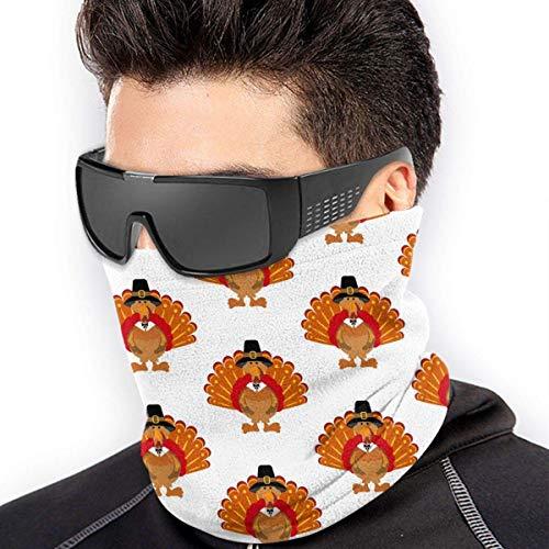 QDAS mannen vrouwen Thanksgiving Turkije patroon halsmanchet verwarmer gratis UV-haarband voor vissen wandelen fietsen zwart