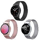 Booyi Correa compatible con Samsung Galaxy Watch Active / Active 2 40 mm / 44 mm, 20 mm Correa de metal de liberación rápida para Samsung Gear Sport / S2 Classic / Watch 3 41 mm / Garmin Vivo Active 3