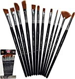 KANO Painting Brushes Set of 12 Professional Round Pointed Tip Nylon Hair Artist Acrylic Cosmetic...