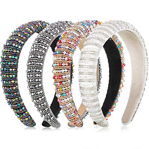 4 Pieces Beaded Rhinestone Headbands for Women Padded Hairbands Wide Hair Hoops Headband Crystal Embellished Headband Hair Accessories for GirlsWhite Rainbow Silver Multicolored Blue
