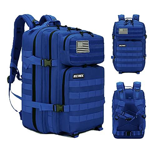 Mochila 45L Táctica Militar Bandera USA Impermeable para Crossfit Caza Aire Libre Deportes Gimnasio Portatil Oxford 900D (Azul)