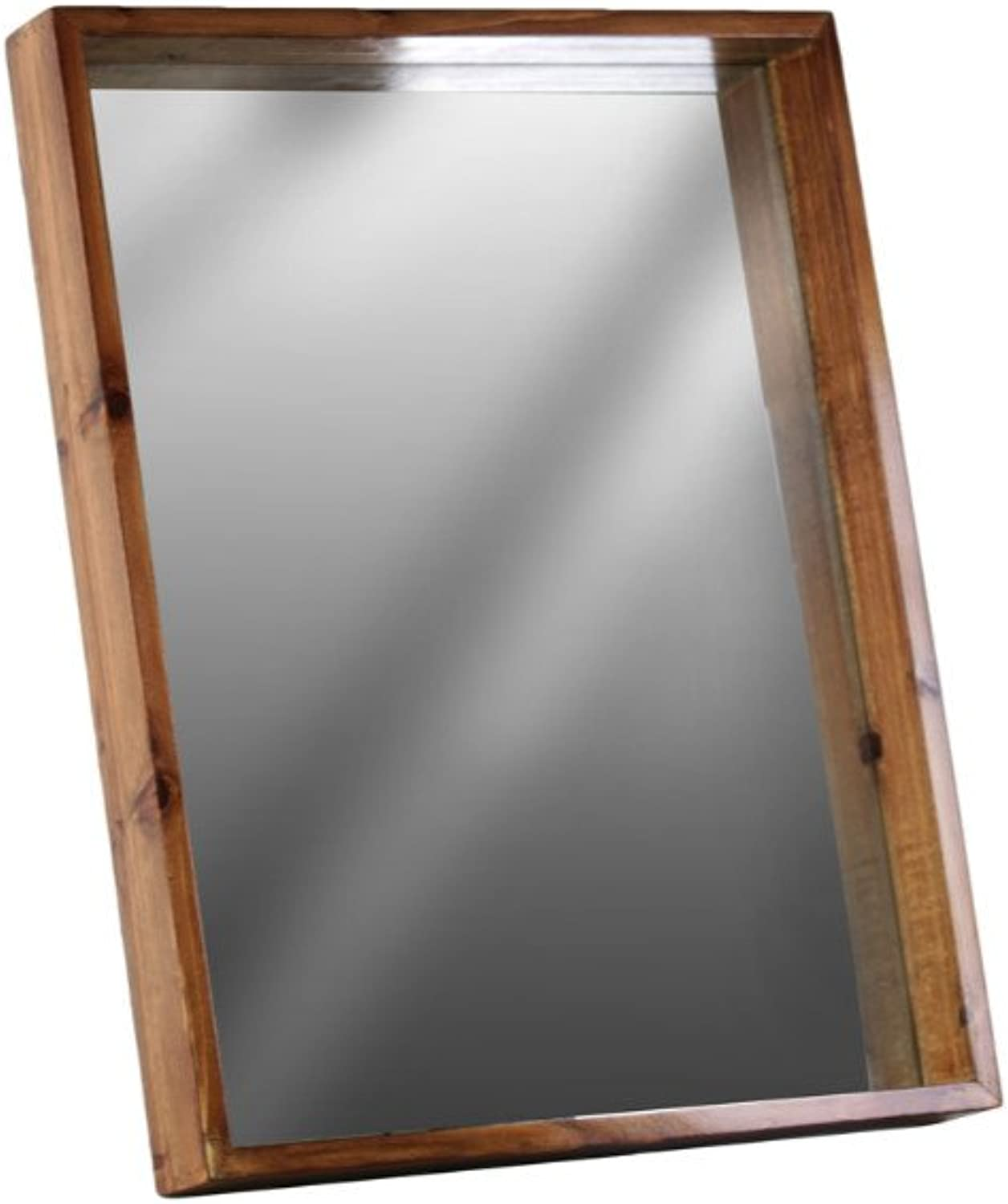 Benzara Rectangular Wall Mirror with Predruding Frame-Small-Brown Accents, One Size