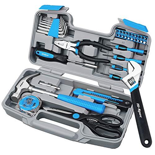 Hi-Spec Set di utensili blu per il fai-da-te in casa da 40 pezzi in una custodia compatta per il trasporto. Utensili manuali multiuso per la riparazione e la manutenzione fai-da-te in casa e ufficio