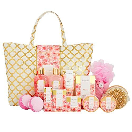 Bad Set Für Frauen, SPA LUXETIQUE 15 tlg. Set Rosen Duft, Perfektes Geburtstagsgeschenk für Sie mit Duschgel, Badebomben, Trockene Haarkappe & Geräumige Handtasche Geschenk für Vater