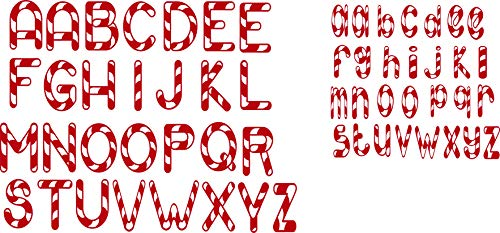 SEC Apparel Iron-On Candy Cane Letters,3 Inch, 2 Inch - Black, Blue, Gray, Green, Orange, Pink, Gold, Red, Yellow, Silver, Glitter Gold, Glitter Red (Red, Upper Case)