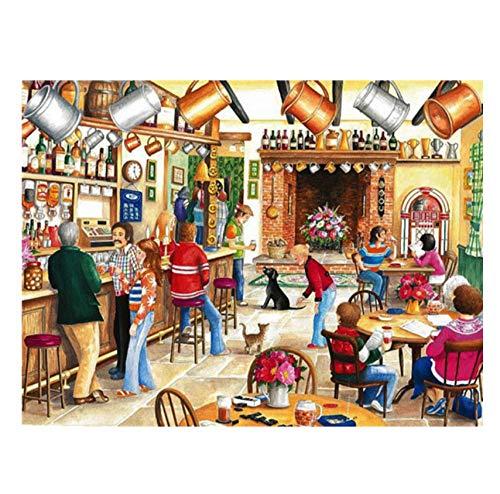 qazwer Pintura De Diamantes 5D DIY Kit Punto De Cruz Niños Hombre Vino Pub Flores Cuadro Completo Taladro Cuadrado Mosaico Arte Decoración del Hogar Regalo 40X50 cm