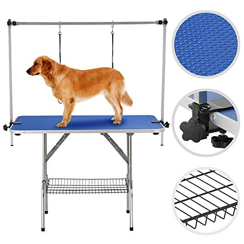 Yaheetech Pet Grooming Table for Large Dogs Adjustable Height - Portable Trimming Table Drying Table w/Arm/Noose/Mesh Tray Maximum Capacity Up to 331Lb Blue 47in x 24in