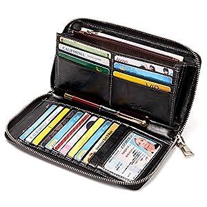 BOSTANTEN Leather Wallets for Women RFID Blocking Zip Around Credit Card Holder Phone Clutch 3